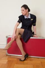 Double Sweaty Pantyhose in Work Heels Flight Attendant