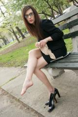 Tan Pantyhose Change in the Park with Patent Pumps