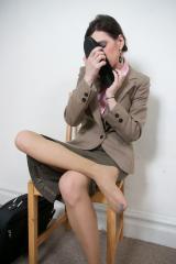 Worn Flats and Ballerina Office Secretary in Sweaty Hose