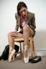 Pointe Ballerina Secretary with torn Sheer Pantyhose Part 3