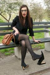 Worn patent office pumps and worn ripped pantyhose change dangling in the part one